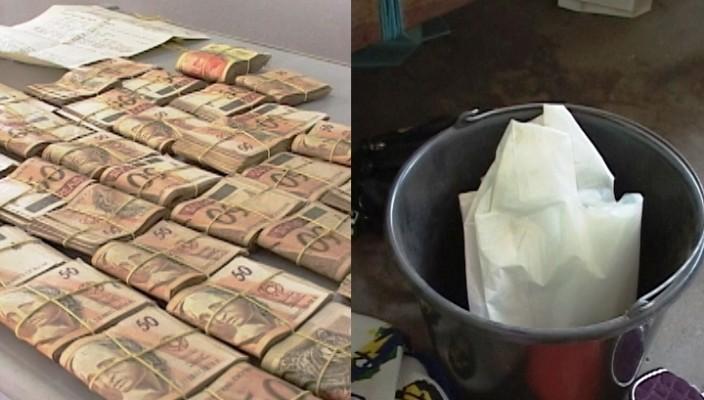 R$ 83 mil reais estavam guardados nesse balde
